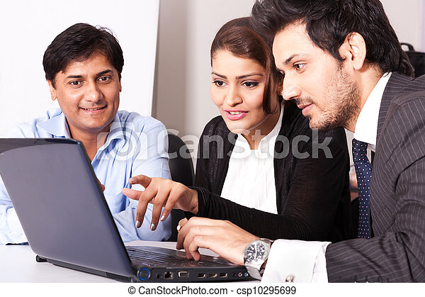 group of multi racial business people in meeting, Inidan business woman in meeting with young businessmen. - csp10295699