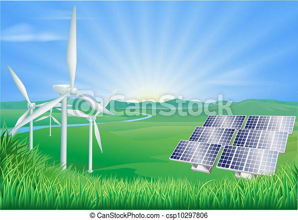 Vector Clipart of Renewable energy illustration - Illustration of wind ...