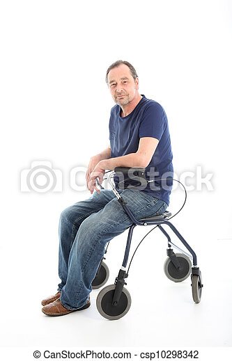 Satisfied man resting on a health walker - csp10298342