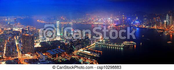 Hong Kong aerial night - csp10298883