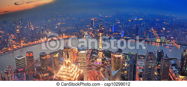 Shanghai sunset aerial view - csp10299012