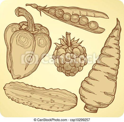 Set vegetables, fruits and berries, - csp10299257