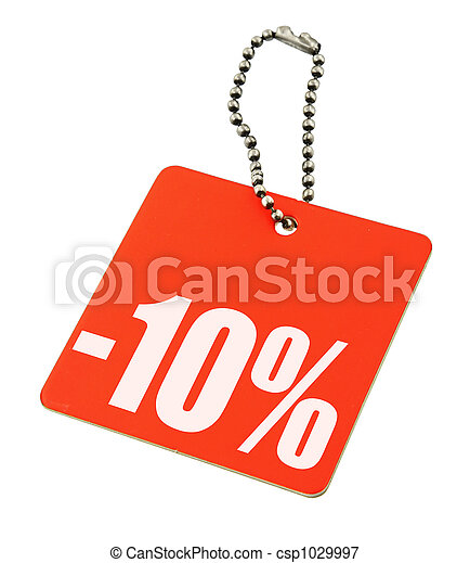Sale tag on pure white background - csp1029997