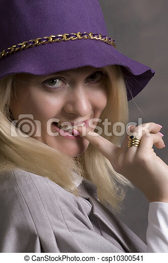 young adult smiling woman - csp10300541