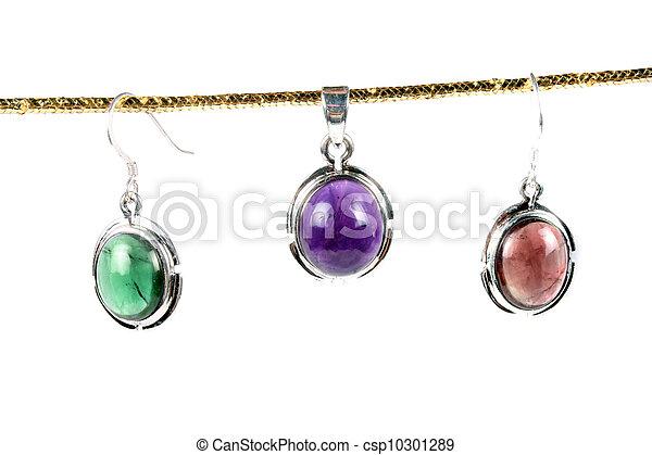 gemstone, pendentes, coloridos - csp10301289