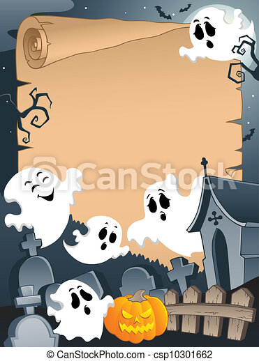Scene with Halloween parchment 4 - csp10301662