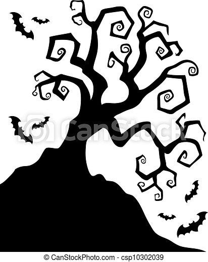 Vecteurs de spooky silhouette halloween arbre spooky for Spooky owl pumpkin stencil