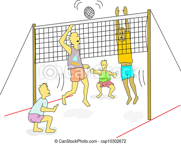 Vectors Illustration of Beach volleyball - Young men wearing light ...