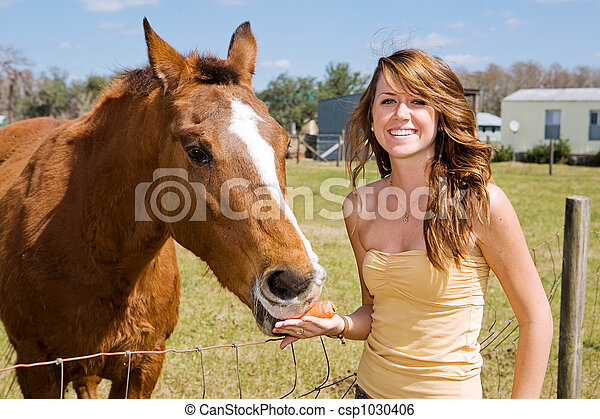 Teen Girl & Her Horse - csp1030406