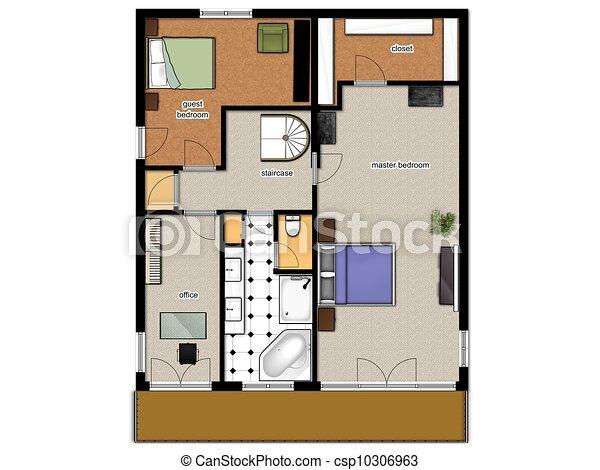 Illustration de 2d plancher plan maison seconde for Plan maison 2d