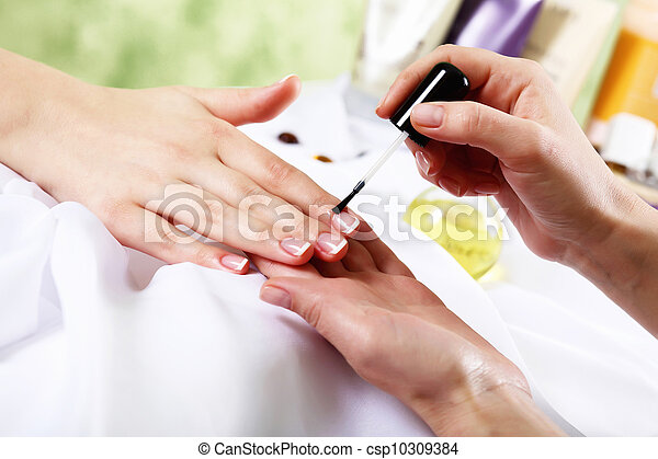 Female hands and manicure related objects - csp10309384