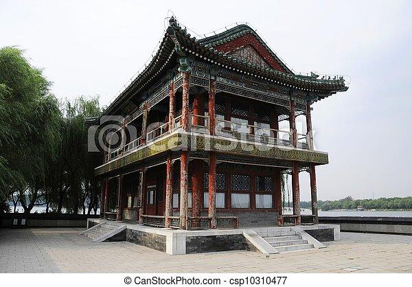 图画, 古代, 建筑物, 夏天, 宫殿, 北京, 中国