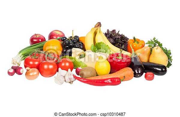 Fresh vegetables and fruits isolated on white - csp10310487