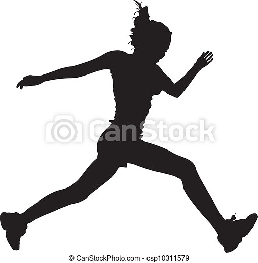 Graphic Girl Drawing Vector Vector Running Girl