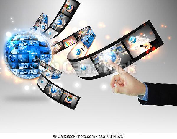 Businessman pressing business communication - csp10314575