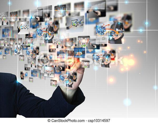 Businessman pressing business communication - csp10314597