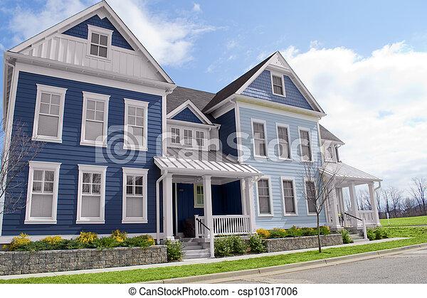 Stock Fotografie Van Blauwe Huizen Stijl Engeland
