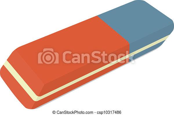 Vector de caucho - Ilustración, lápiz, borrador, rojo, azul ...