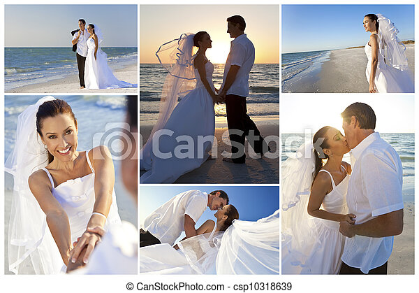 Bride & Groom Married Couple Sunset Beach Wedding - csp10318639