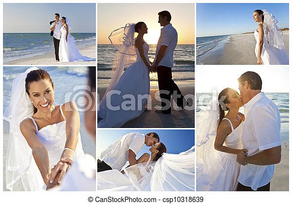 Bride & Groom Married Couple Sunset Beach Wedding - csp10318639