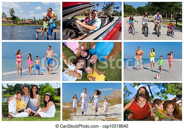 sommer, familie,  Montage, urlaub, draußen, Aktive, glücklich - csp10318640