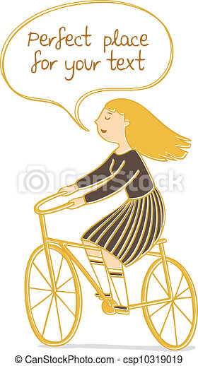 Vector illustration of a girl riding a bicycle with speech bubble for your text. - csp10319019