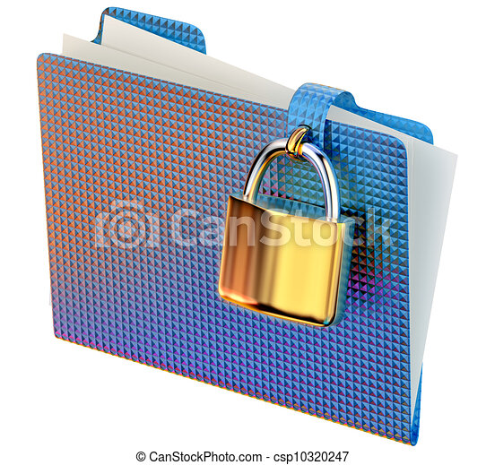 Drawing of blue folder with golden hinged lock stores ...