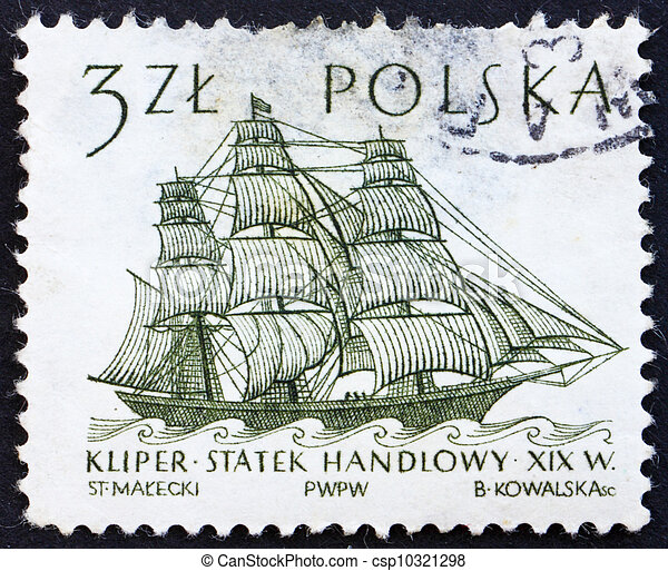 Postage stamp Poland 1964 Dutch Merchant Ship, Sailing Ship - csp10321298