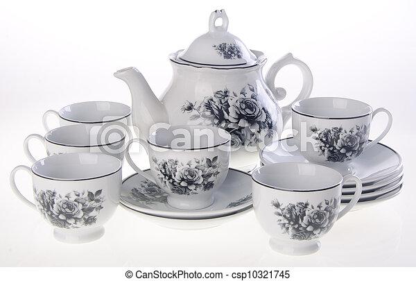 tea pot, ceramic teapot on a background.