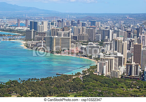 Aerial view of the skyline of Honolulu, Oahu, Hawaii, showing the downtoan and hotels around Waikiki Beach and other areas - csp10322347