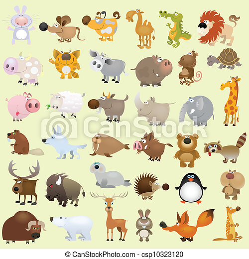 Big cartoon animal set - csp10323120