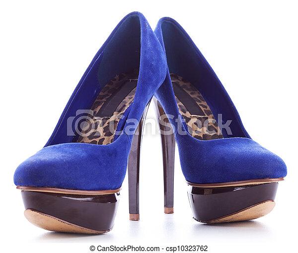 blue high heeled fashion women shoes - csp10323762