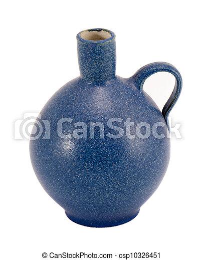 Blue ceramic jug vase handle isolated on white  - csp10326451