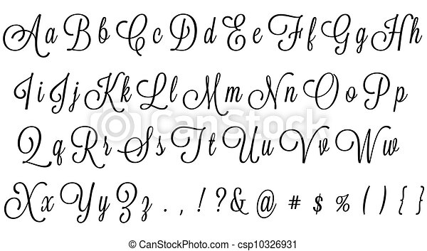 Disegni di alfabeto corsivo nero corsivo for Nomi in corsivo gallery