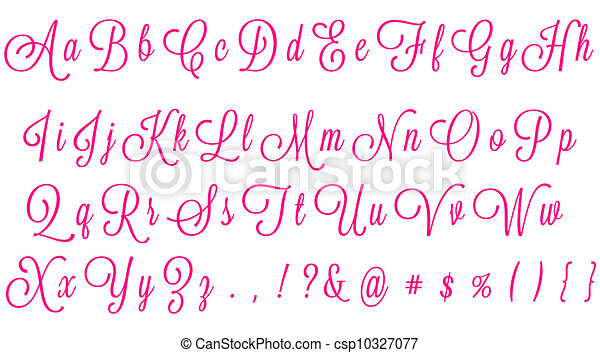 Number Names Worksheets the alphabet letters in cursive : Stock Illustrations of Pink Cursive Alphabet - cursive alphabet ...