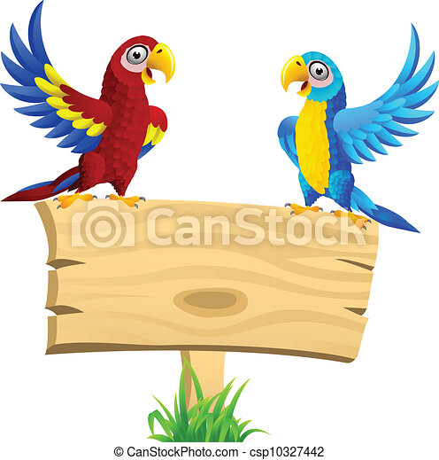 Macaw bird with blank signboard - csp10327442