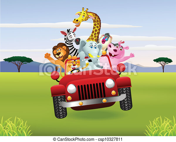 African animals in red car - csp10327811