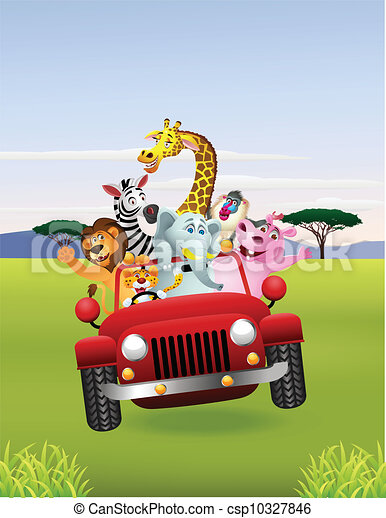 African animals in red car - csp10327846