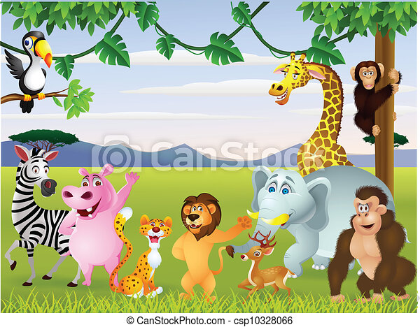 Funny safari animal cartoon - csp10328066