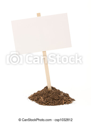 Blank White Sign in Dirt Pile Isolated - csp1032812