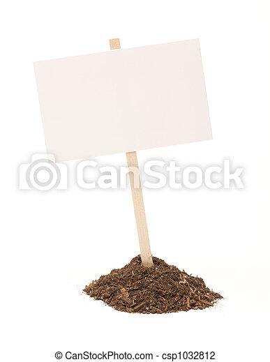 泥土, 被隔离, 簽署, 堆, 空白, 白色 - csp1032812