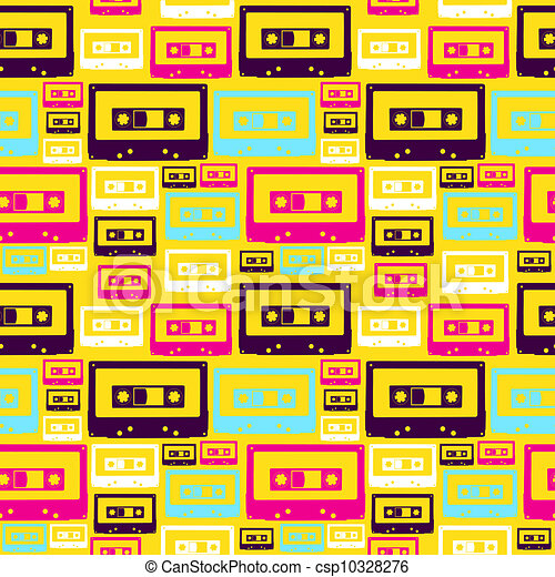 Retro pop audio tapes pattern - csp10328276