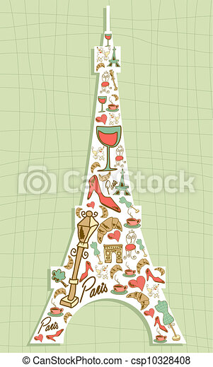 Travel Paris icon set Eiffel tower - csp10328408