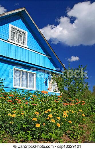 summer flowerses near rural building - csp10329121
