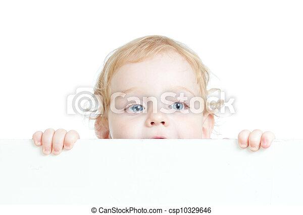 かわいい, 巻き毛, 子供, 広告, 保有物, ブランク, 旗 - csp10329646