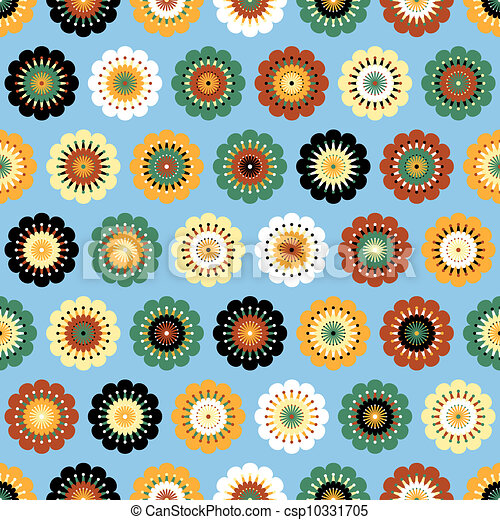 Vector Clipart of Multicolored funky flowers abstract seamless ...