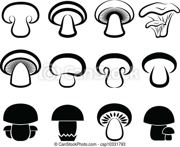 EPS Vectors Of The Stylized Mushrooms