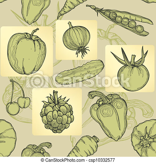 Seamless pattern of fruit, vegetabl - csp10332577
