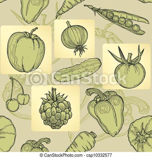 Seamless pattern of fruit, vegetabl - csp10332577