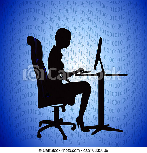 silhouette woman secretary prints on computer - csp10335009
